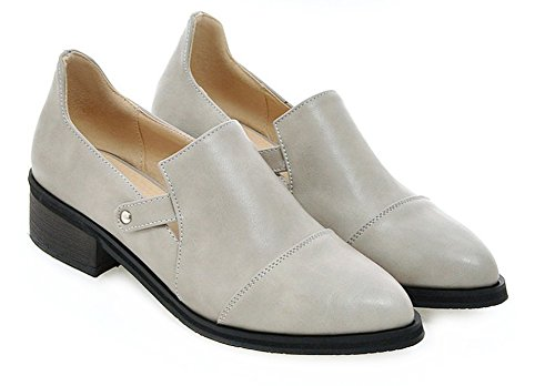 Low Heel Pointy Toe (Sfnld Women's Pointy Toe Low Heel Pumps Shoes Gray 6.5 B(M) US)