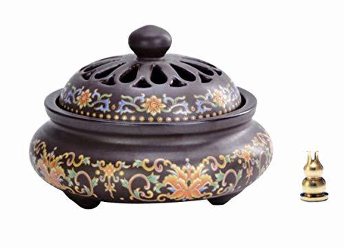 Avena Incense Burner Ceramic Cone/Coil Incense Holder Ash Catcher Tray Bowl with Incense Burner Holder, Magic Tibet
