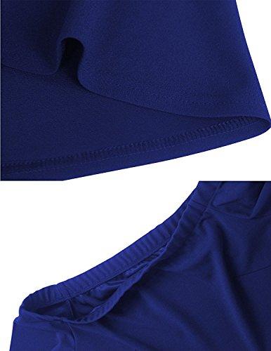 Manga Vestidos Irregular Corta Vestidos Coctel Mujer Dobladillo Off Fiesta de Vestido Azul de Elegante carinacoco Shoulder vq8IU