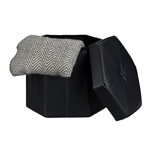 Relaxdays Folding Storage Ottoman Hexagonal Footstool With