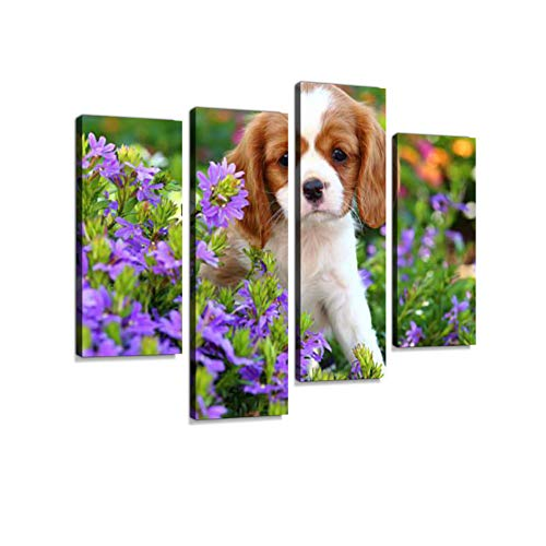 Cavalier King Charles Spaniel Puppy Canvas Wall Art Hanging Paintings Modern Artwork Abstract Picture Prints Home Decoration Gift Unique Designed Framed 4 Panel - Cavalier King Charles Spaniels Framed