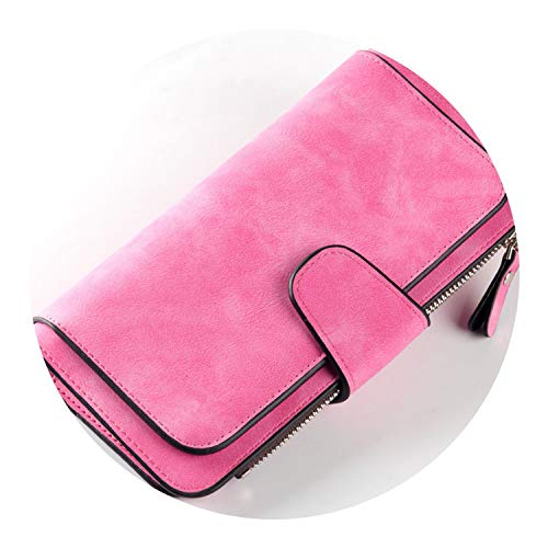pursuit-of-self Wallet Women Scrub Leather Lady Purses Ladies Clutch Wallet,hot pink -