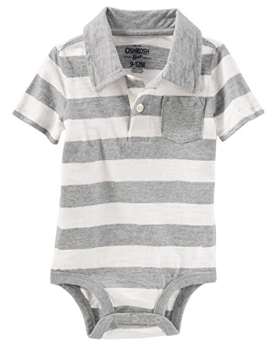 OshKosh B'Gosh Baby Boys' Short Sleeve Polo Bodysuit (9-12M, Grey/Stripe)