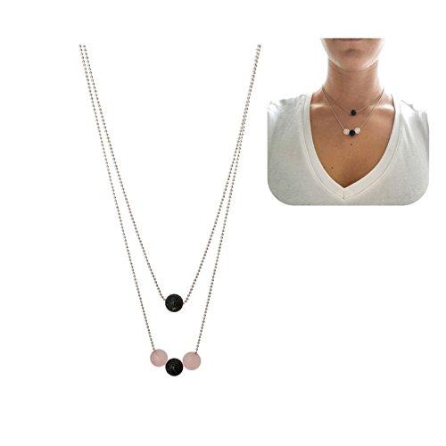 Rose Quartz and Lava Stone Pendant by Kuratif- Essential Oil Diffuser Necklace, Layering, Minimalist