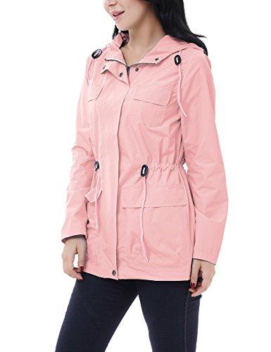 Casual Vestes Imperméables pluie Coupe Rose Vessos À Manteaux Capuche Pliable Manches Femme Longues 15Xwxqz