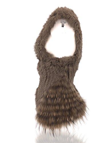 Uilor® Gilet de piel de conejo de punto con cuello de piel de mapache caliente p Marrón