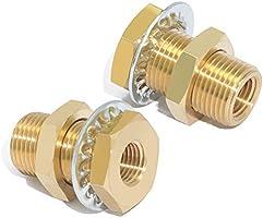 Boeray Brass Pipe Fitting 2pcs 1//4 NPT Female 15//16 Length Bulkhead Coupling Bulkhead Tank Fitting Frame Nipple