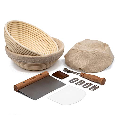 Proofing Set, by Kook, Sourdough Bread, 2 Rattan Banneton Baskets, 2 Basket Covers, Metal Scraper, Plastic Scraper, Scoring Lame, 5 Blades and Case, Oval Shape