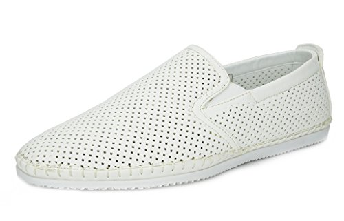 White Shoes Italian (BRUNO MARC NEW YORK Bruno Marc Men's Sleeker White Loafers Moccasins Boat Shoes - 6.5 M US)