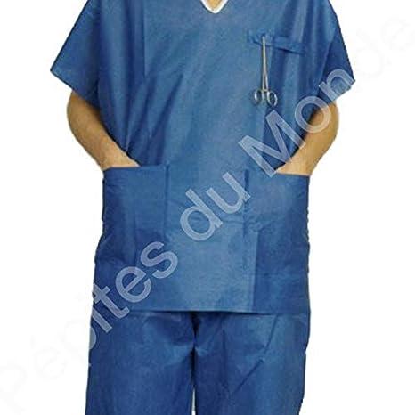 Pijama quirófano 2 bolsillos desechable talla L manga corta - 4 pijamas pantalón + alto pdm-pft05 - 4 by Pépites del mundo: Amazon.es: Salud y cuidado ...