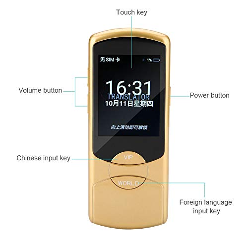 Intelligent Voice Translator, Portable Multi-Language Simultaneous Translator Device 42 Languages Two-Way Interpretation in Real Time Supports WIFI for Travel Learning Shopping, Business(Yellow) by ASHATA (Image #4)
