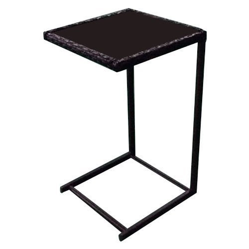 Tangkula Brown Coffee Tray Side Sofa End Table Rattan PE Wicker Square Glass Furniture - Living Room Wicker Side Table