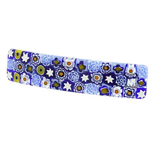 Millefiori Flower - GlassOfVenice Murano Glass Millefiori Hair Clip - Blue Flowers