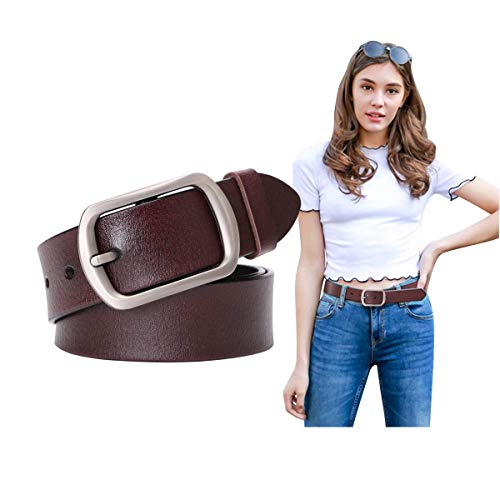 Genuine Leather Belts For Women Vintage Ladies Retro Jeans Waist Belt With Metal Pin Buckle Ladies Real Bull Leather Dress Belt For ()