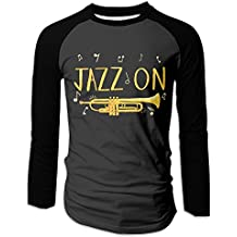 Men's Jazz Lover And Trumpet Player Raglan Baseball T-Shirts 3/4 Sleeve Baseball Tees