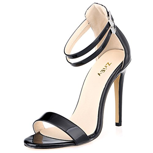 ZriEy Dance&Style Women's Ladies Double Strap Buckle Closed High Heel Wedding Party Work Sandals Peep Toe Patent Leather Black Size 8.5