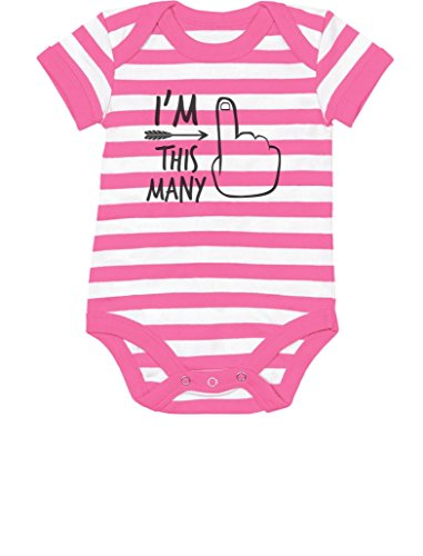 TeeStars - 1st Bday One Year Old First Birthday Gift Boy/Girl Baby Bodysuit 18M (12-18M) Pink/White -