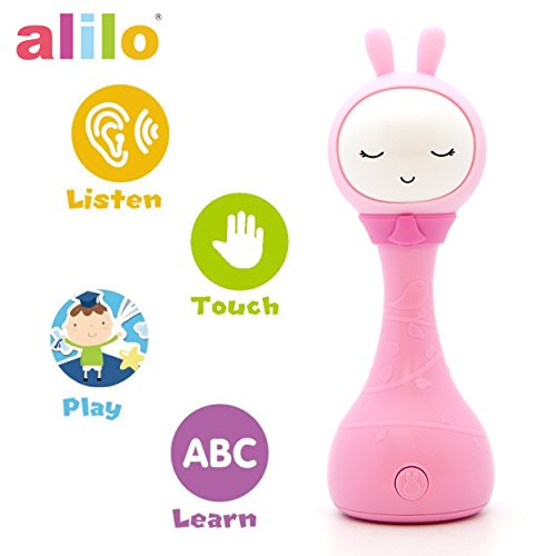 alilo R1+ Shake and Tell Advanced Educational Baby Rattle Smart Bunny w/ 7 Features Learning Number, Alphabet, Music Note, Sleeping Nursery Rhyme, Repeat, Interactive Game, Illuminating Ear R1P, Pink