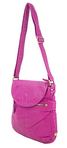 Proya Collection Soft Feel Stone-Wash Leather Crossbody Bag (Hot Pink)