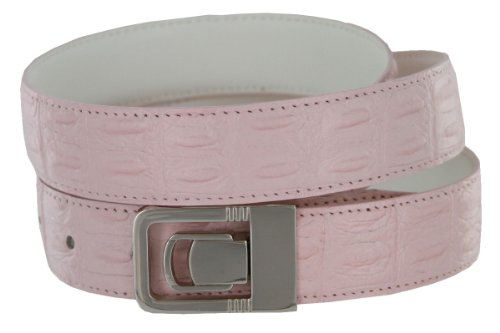 [Leather Dress Belt, Pink Crocodile with Nickel Plated Channel Buckle (32)] (Leather Crocodile Belt)