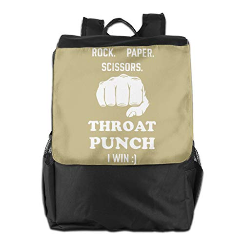 Rock Paper Scissors Throat Punch I Win Travel Backpack Women Mens Shoulders Bag For -