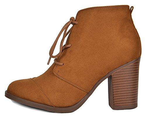 Ankle TOETOS Chunky Heel Suede Women's 5 Chicago Tan Booties Iwa1OqZwP