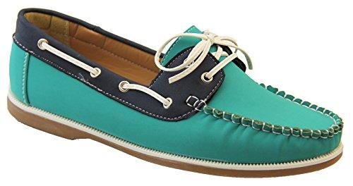 Shoreside Mocasines para Mujer Verde Jade & Azul Marino