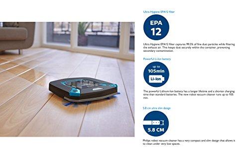 Philips Robot aspirador FC8794/01 - Aspiradoras robotizadas (Sin bolsa, Negro, Azul, Otro, 0,4 L, Wall-following, Bounce, Espiral, Zigzag, Alfombra, ...