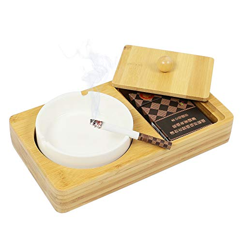 (Monsiter Ashtray for Cigarette with Wooden Cigarette Case for Indoor and Outdoor)