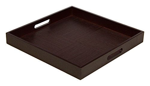 Simply Bamboo BDTS16 Espresso Brown Bamboo Wood Square Serving Tray, L x 16