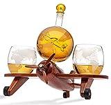 Godinger Whiskey Decanter Airplane Globe Set with 2 World Whisky Glasses - for Liquor Scotch Bourbon Vodka