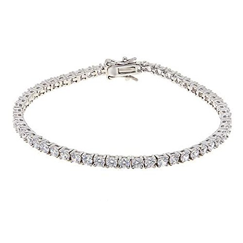Smjewels 5.50 Ct D/VVS1 Diamond 14K White Gold Over Sterling 3mm Round Line Bracelet by Smjewels