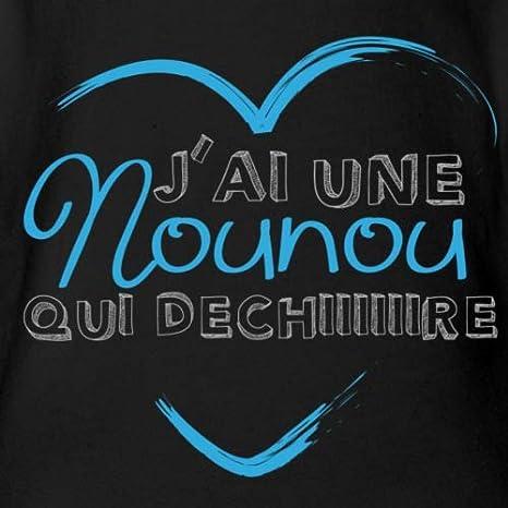Spreadshirt Nounou d/échire c/œur Body B/éb/é Bio Manches Courtes