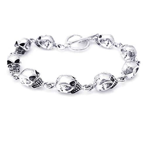 (AeraVida Punk Multi Skull-Skulls .925 Sterling Silver Toggle Link Bracelet)
