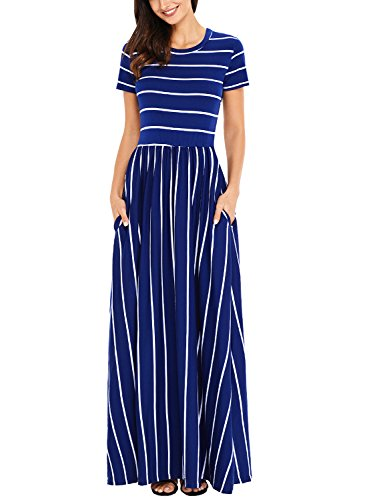 Women's Casual Loose Plain Striped Printed Long Dress Short Sleeve Fit and Flare Maxi Dress with Pockets Dark Blue Large