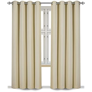Blackout, Room Darkening Curtains Window Panel Drapes - (Beige Color) 2 Panel Set, 52 inch wide by 84 inch long each panel- By Utopia Bedding