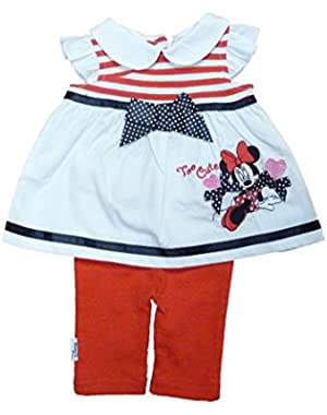 Infant Girls Red White Minnie Mouse Patriotic 2 Piece Legging Outfit