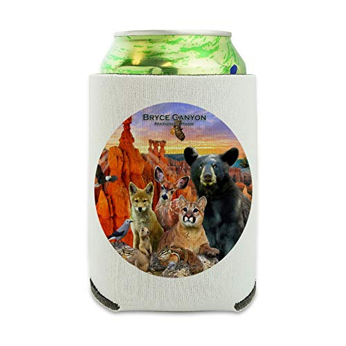 (Bryce Canyon National Park Utah UT Beer Animals Cougar Deer Coyote Can Cooler - Drink Sleeve Hugger Collapsible Insulator - Beverage Insulated Holder)