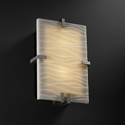 Clips Design Justice Group (Justice Design Group PNA-5551 - Clips Clips Rectangle Wall Sconce (ADA) - Brushed Nickel with Waves Shade)