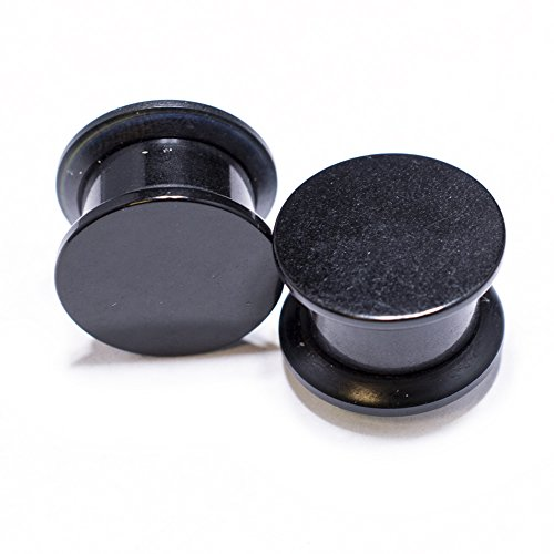 The Madd Hatter Solid Black Stash Box Screw-on Fit Gauges/plugs Acrylic (1 Pair) Different 7/16