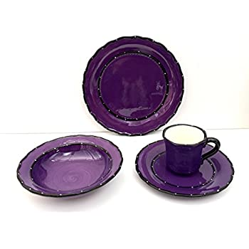 Tuscany Hand Painted Ruffle 16pc Dinneware Set Your Choice of Color by ACK (  sc 1 st  Amazon.com & Amazon.com: Tuscany Hand Painted Ruffle 16pc Dinneware Set Your ...