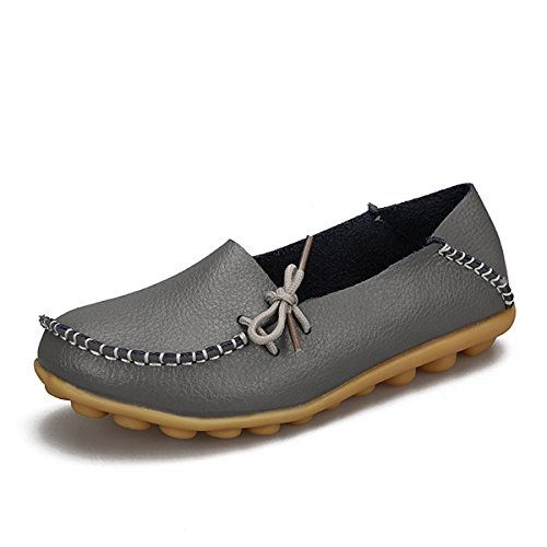 Shoes Female Gray Leisure Moccasins Soft Footwear Women Leather Loafers Mother Nutsima Casual Real Ballet Driving Flats PtUyS