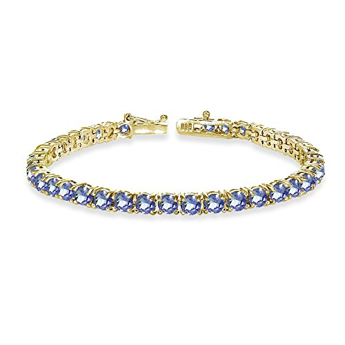 GemStar USA Yellow Gold Flashed Sterling Silver 4mm Tanzanite Round-Cut Tennis -