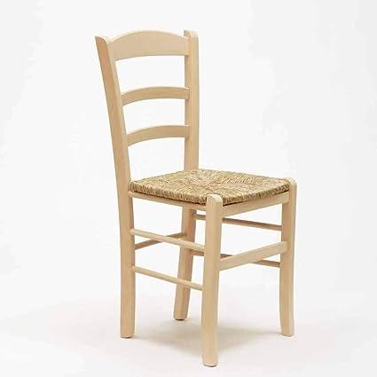 Dipingere Sedie In Legno.Sedia In Legno Grezzo Da Verniciare Seduta In Paglia Ristorante Casa Paesana Gia Montata Amazon It Casa E Cucina