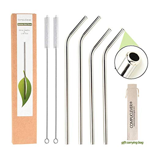 - Reusable Metal Straws for Drinks, 4 Set of Stainless Steel Straws for 20 30 oz Tumbler, Eco-Friendly Extra Long Straws with Anti-Scratch Tips,BPA Free(2x9.5
