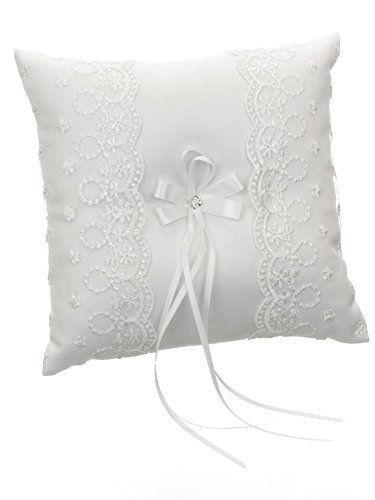 (DivaDesigns Lace Organza Square Crystal Long Fringe Ribbon Wedding Ring Pillow White)