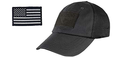 2A Tactical Gear Condor Outdoor Cap & USA Flag Patch Stitching & Excellent Fit for Most Head Sizes (Black - Mesh)