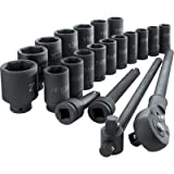 Klutch Jumbo Ratchet and Impact Sockets - 3/4in. Drive, 21-Pc. Set, Deep