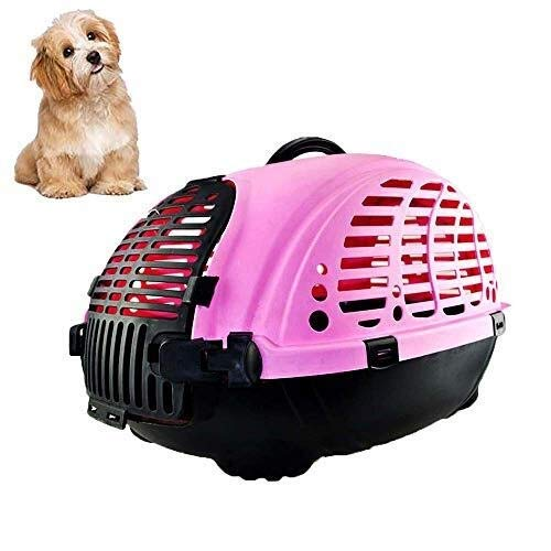 CHEN-X Pet Transport Box, Animal Cage, Cat and Dog Transport Box, Plastic Dog Cage with Handle, Pink by CHEN-X