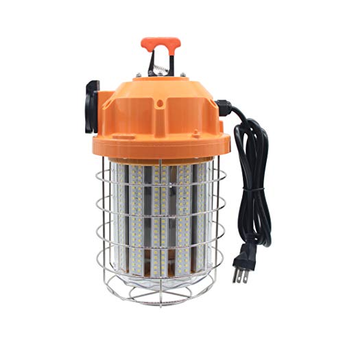 80 Watts LED Temporary Work Light Fixture, Durable Jobsite Lighting Daylight White 5,000K, Wet Location Capable Stainless Steel Protective Cover, for Warehouse High Bay Outdoor Construction Lamp